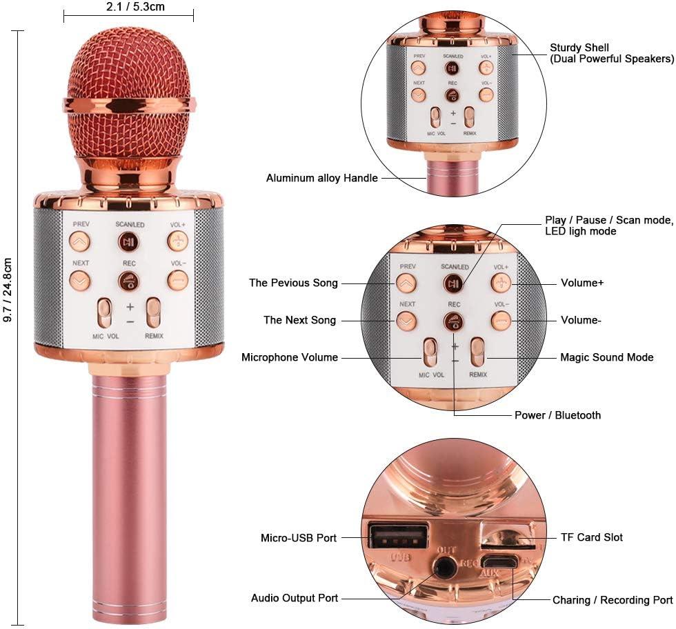 HALOVIE Microphone Karaok/é sans Fil Bluetooth Haut-Parleur avec LED Lumi/ère Color/é Portable Karaok/é Microphone Compatible avec iOS//Android Smartphone PC Id/éal pour Bar Party F/ête KTV Enregistrement