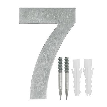 NUZAMAS Placas de número de puerta 7, acero inoxidable, placa de dirección de hotel, números de calle, 10,8 cm de ancho, 15 cm de alto, kit de ...