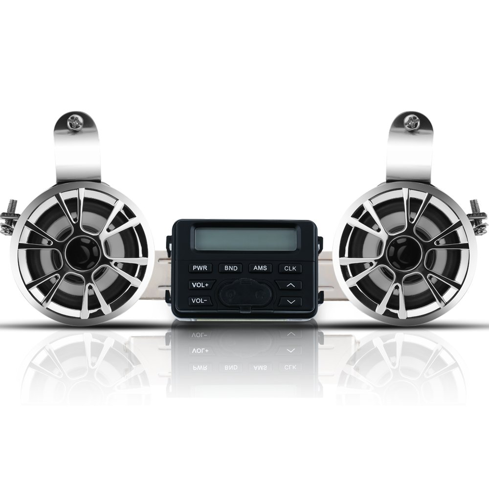Winllyat Motorcycle Bluetooth Speaker Audio Radio Waterproof Handlebar Amplifier Stereo Speaker System FM MP3 Speakers