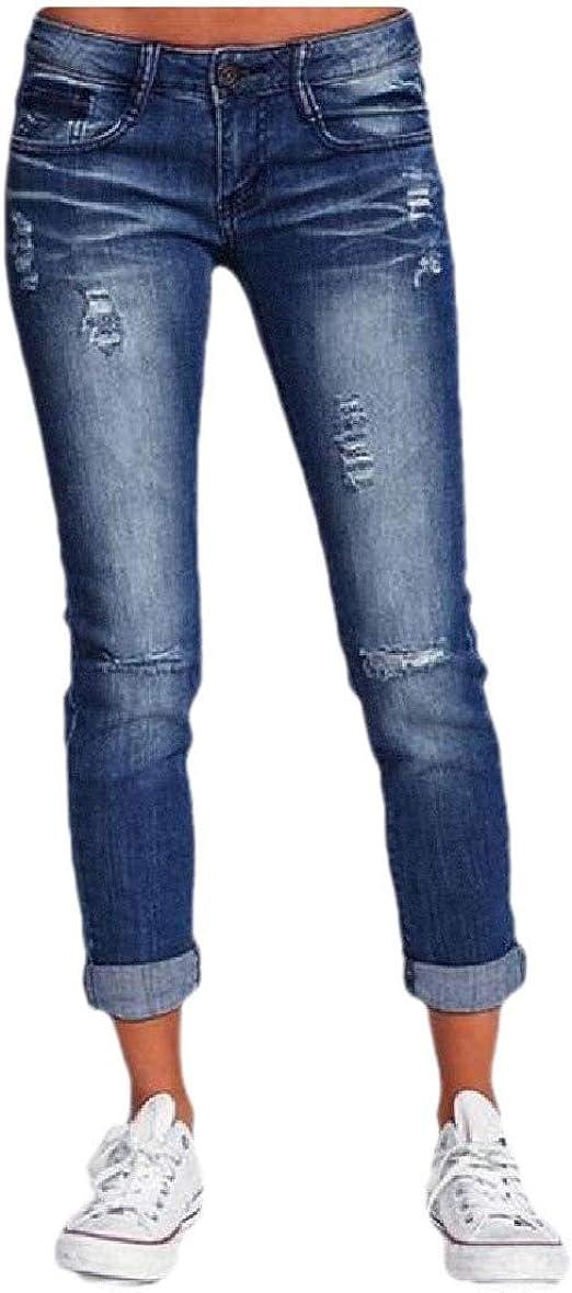 Nicellyer 女性カジュアルウィークエンドスリムフィット破壊洗浄ミッドウエストジーンズ
