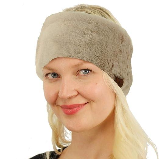 SK Hat shop All Furry Adjustable Faux Fur Sherpa Fleece Lined Headband  Headwrap Solid Beige b22878a9a002