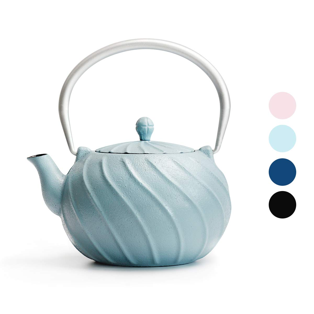 Tea Kettle, TOPTIER Japanese Cast Iron Tea Kettle with Infuser, Stovetop Safe Cast Iron Tea Kettle, Wave Design Cast Iron Teapot Coated with Enameled Interior for 22 oz (650 ml), Turquoise Blue