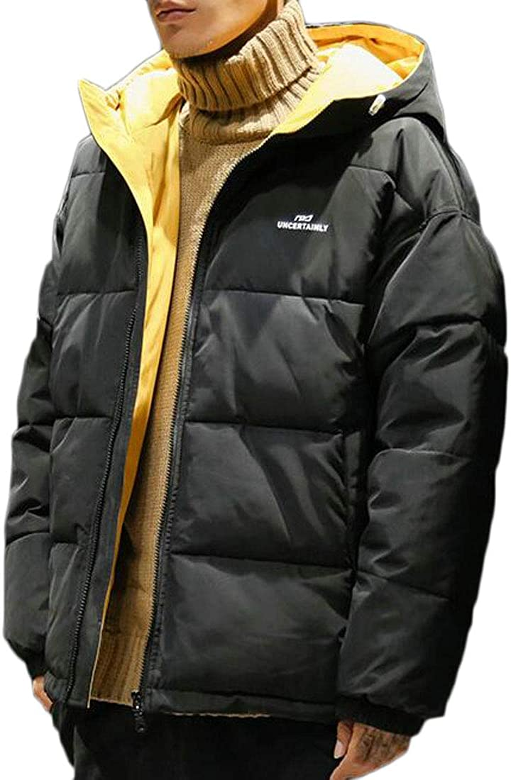 YYG Mens Zipper Loose Thickened Winter Hooded Down Quilted Coat Jacket Overcoat
