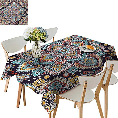 (Ethnic Tablecloth,Bohemian Style Tribal Ethnic Motif Vintage Henna Inspired Traditional Mehndi Art Dining Room Kitchen Rectangular Table Cover,73W x 112L Inches Multicolor)