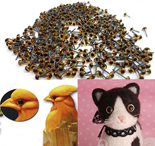 CHENGYIDA 400pcs(200pairs) 5mm Mini Brown Glass Eyes on Wire Amber Toy Teddy (Glass Eyes Toys Dolls)