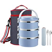 WORTHBUY Stainless Steel Thermal Lunch Box, 100% Leakproof Contain with Insulated Lunch Bag, Large Capacity Food Storage Container for Kids Adults Women Men(3-Tier, Blue)