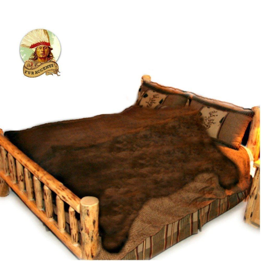 Big Bear Skin Area Throw Rug Shaggy Shag Teddy Bear Dark Coffee Brown Thick Faux Fur (8'x10')