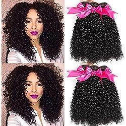 Hermosa 10A Brazilian Curly Hair 3 Bundles(12 14 16,300g)Good Quality Curly Weave Human Hair Unprocessed Brazilian Virgin Hair Black Color