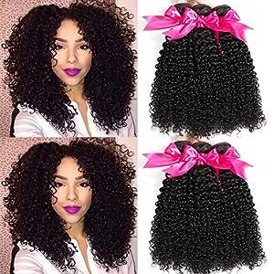 Hermosa 10A Brazilian Curly Hair 3 Bundles Good Quality Curly Weave Human Hair Unprocessed Brazilian Virgin Hair Black…