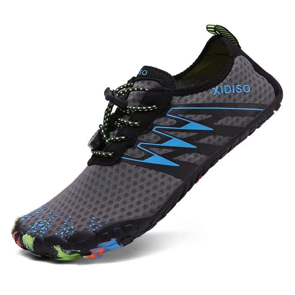 XIDISO Womens Water Shoes Mens Quick Dry Slip-on Barefoot Swimming Shoe Aqua Socks for Water Sports Pool Beach Surf Yoga Gym Walking, Gray-4, 8.5 Women / 7 Men by XIDISO