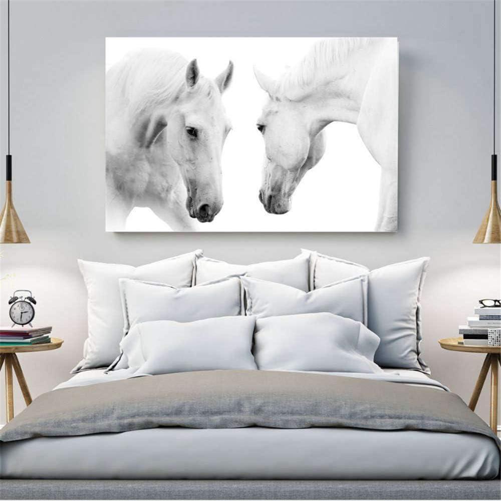 PCWDEDIAN Arte De Pared 3D Canvas Personalizable Lindos Dos Caballos Blancos Cuadro En Lienzo Obra De Arte Pintura Foto Mural Decoración del Hogar 60x120cm
