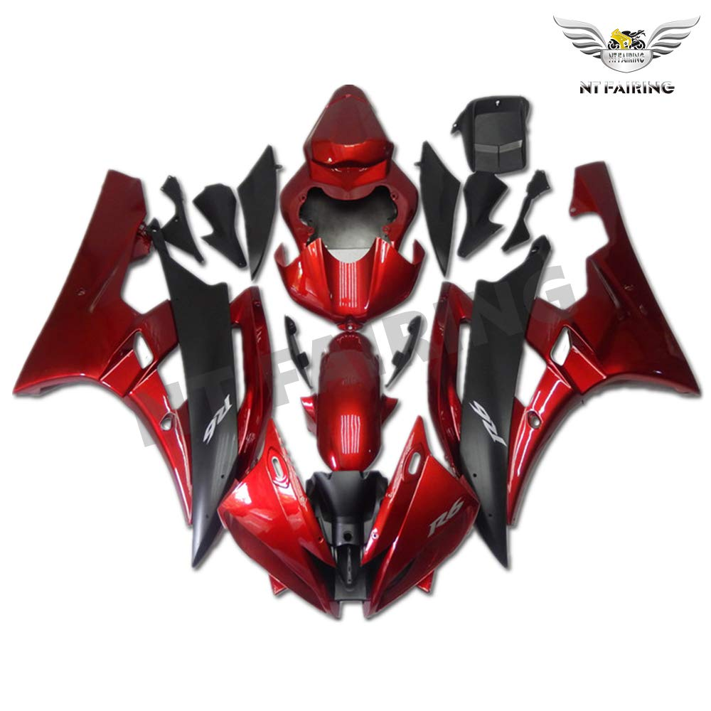 NT FAIRING Glossy Red Black Injection Mold Fairing Fit for Yamaha 2006 2007 YZF R6 New Painted Kit ABS Plastic Motorcycle Bodywork Aftermarket