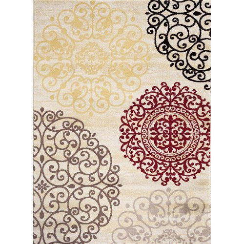 "OKSLO Winston Porter Ingaret Cream Area Rug Rectangle 5'3"" x 7'3"" from OKSLO"