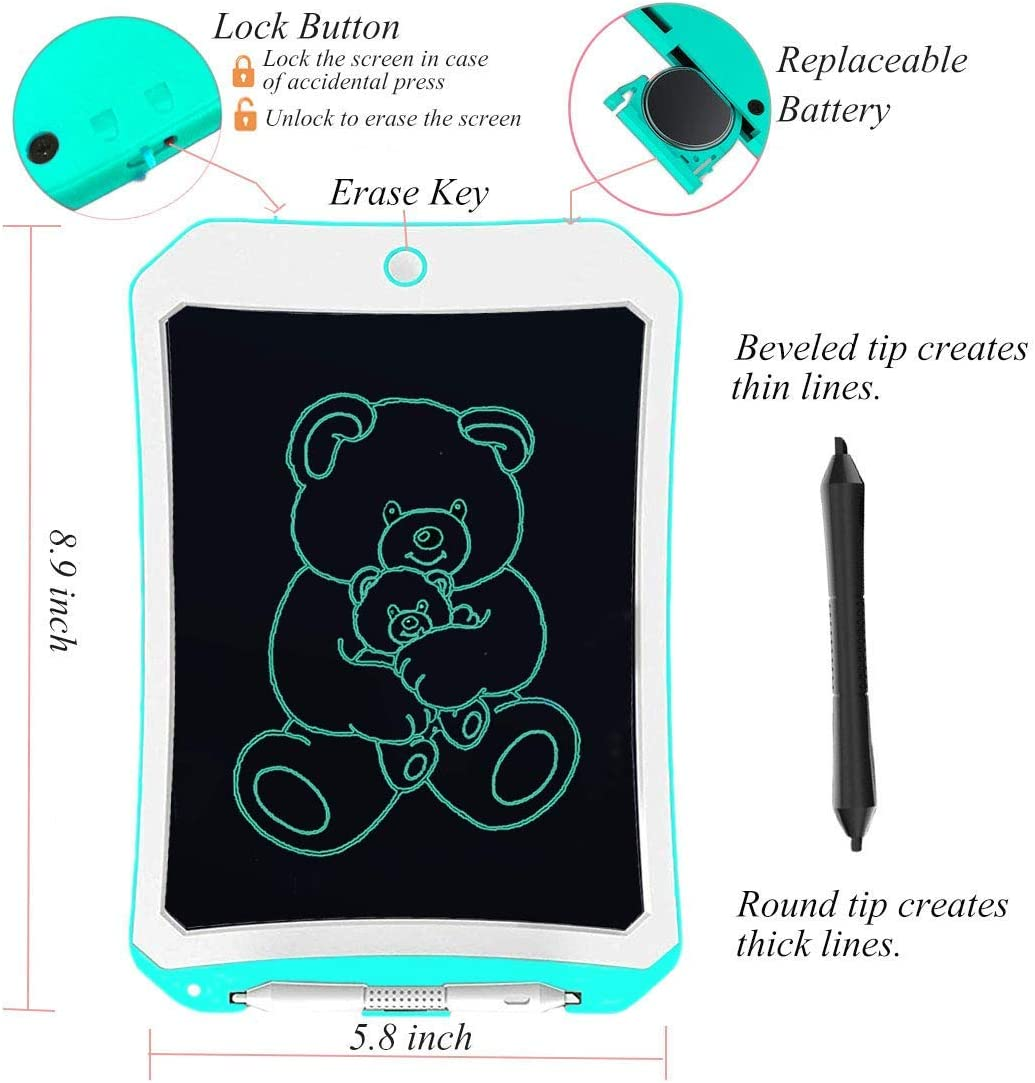 Handwriting Pads Electronic Drawing Board Ultra-Thin Board for Kids and Adults Blue Digital Writing Tablet Dayuup 10 Inch Blue LCD Drawing Board
