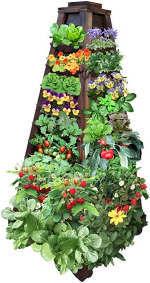 Jardín vertical Earth Tower Garden:Jardinera de madera de 4 lados sobre ruedas.: Amazon.es: Jardín