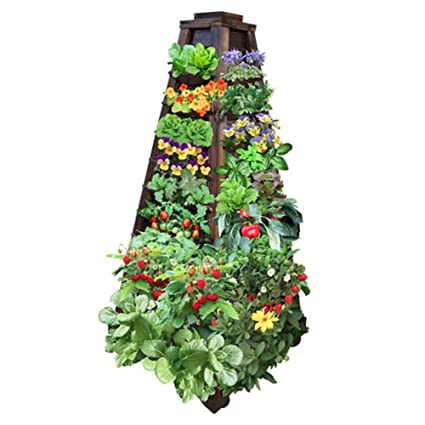 Amazon.com: Earth Tower Vertical Garden: 4-sided Wooden Planter on ...