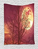 Dark Red Tapestry, Night Sky Super Moon Behind Silhouette of Dead Tree Serenity Nature, Wall Hanging for Bedroom Living Room Dorm, 60 W X 80 L Inches, Dried Rose Yellow Brown