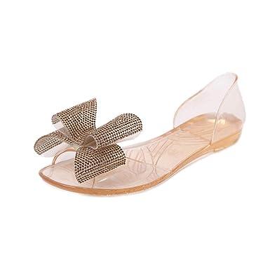 03262c4c5 Ladies Flat Beach Sandals Bowtie Jelly Fashion peep Toe Transparent Crystal  Shoes Size 35-40