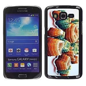 For Samsung Galaxy Grand 2 II / SM-G7102 / SM-G7105 Case , Art Island Orange Mountains - Diseño Patrón Teléfono Caso Cubierta Case Bumper Duro Protección Case Cover Funda