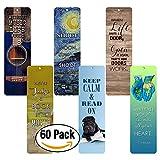 Creanoso Inspirational Bookmarks for Books (60-Pack) - Positive Wisdom Assorted Inspiring Quotes Bookmarker Cards Jane Austen - Motivational Encouragement- Best Quality Bulk Set