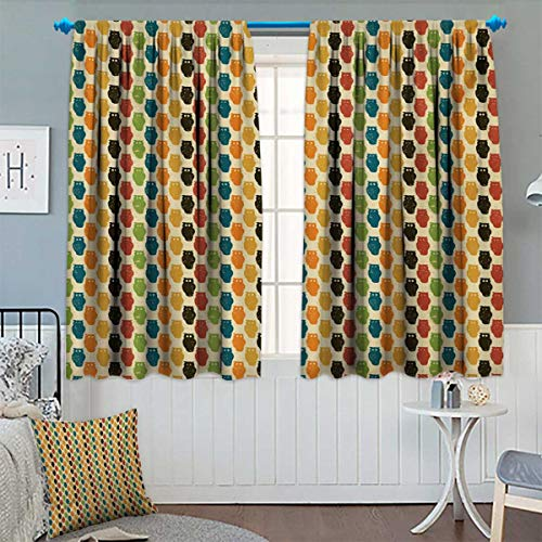 Owls,Blackout Curtain,Retro Styled Colorful Animal Silhouettes with Grunge