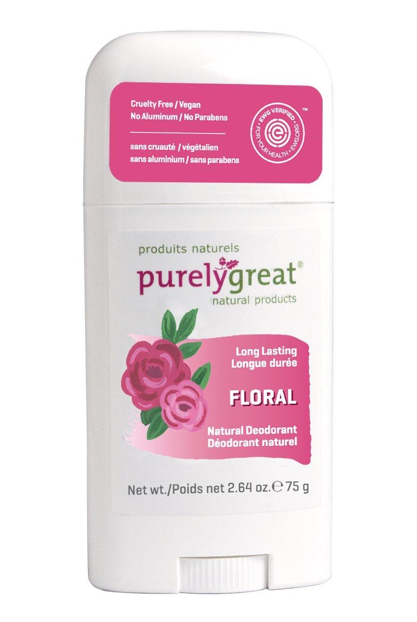 Purelygreat Natural Deodorant Stick - Floral - EWG Verified™ - Vegan, Cruelty Free - No Aluminum, No Parabens - Essential Oils