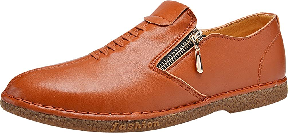 Abby QZYYU-7115 Mens Cozy Penny Loafers Fresh Moccasins Breathable Classic Slip On Comfy Slide Flat Round Toe Zipper Concise Design Antiskidding