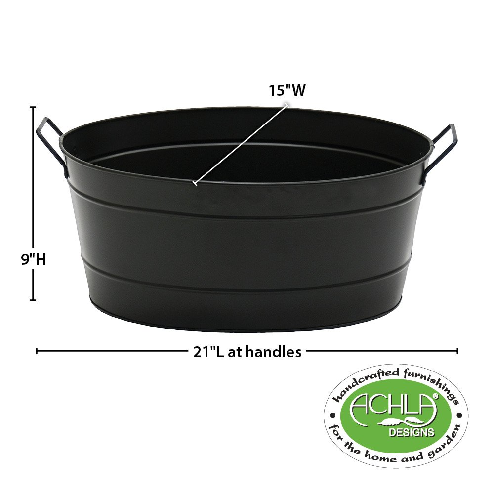 Achla Designs Black Oval Galvanized Steel Tub by Minuteman International (Image #8)