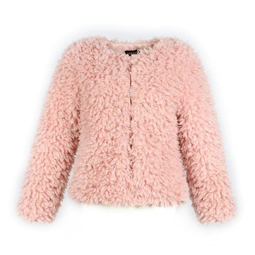 Women Warm Long Sleeve Parka Faux Fur Coat Overcoat Fluffy Top Jacket Leopard Brown