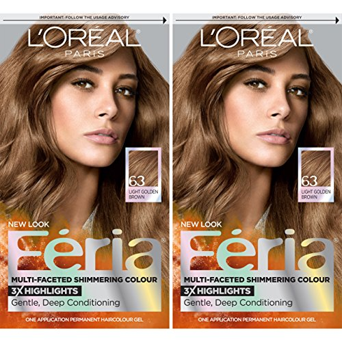 L'Oréal Paris Feria Multi-Faceted Shimmering Permanent Hair Color, 63 Sparkling Amber, 2 COUNT Hair Dye