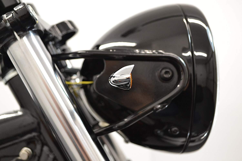 Moto Alluminio Cromato Eagle Eye Lampadina Frecce 2 Paia Lenti Ambra