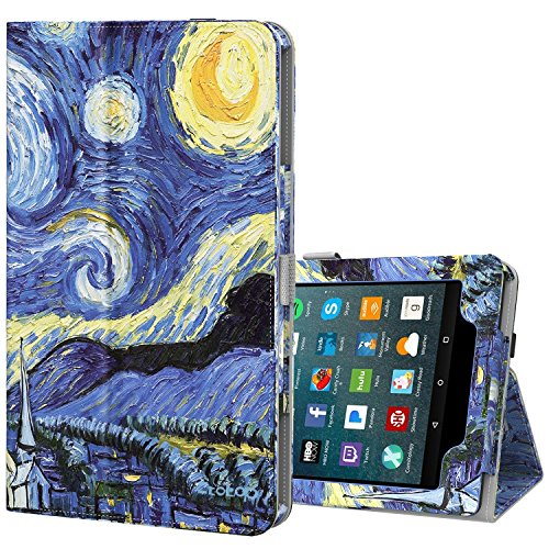Ztotop Folio Case for All-New Amazon Fire 7 Tablet (7th Generation, 2017 Release) - Smart Cover Slim Folding Stand Case with Auto Wake / Sleep for Fire 7 Tablet, Starry Night