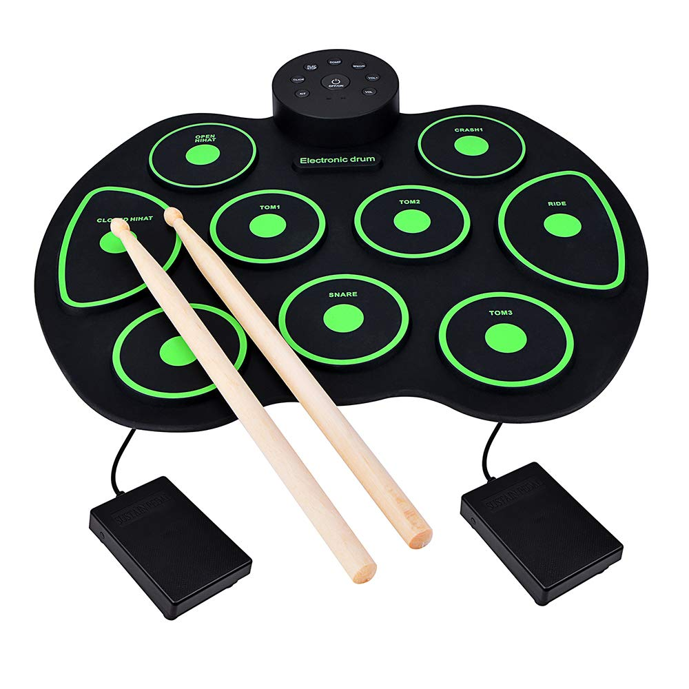 Yunkoo, Electronic Drum Set - 9 Keys Electronic Drum Pads Foldable Roll Up Portable Practice (No Speaker and Battery) Best Birthday & Christmas Gift for Kids by Yunkoo