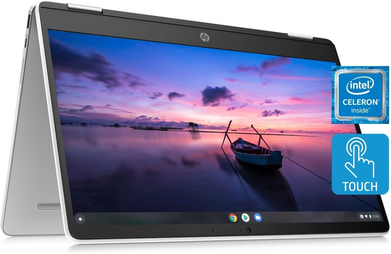 HP Chromebook x360 14a Laptop - Dual Core Intel Celeron N4020 - 4 GB RAM - 32 GB eMMC Storage - 14-inch HD Touchscreen - Google Chrome OS - Lightweight and Long Battery Life (14a-ca0020nr, 2020)