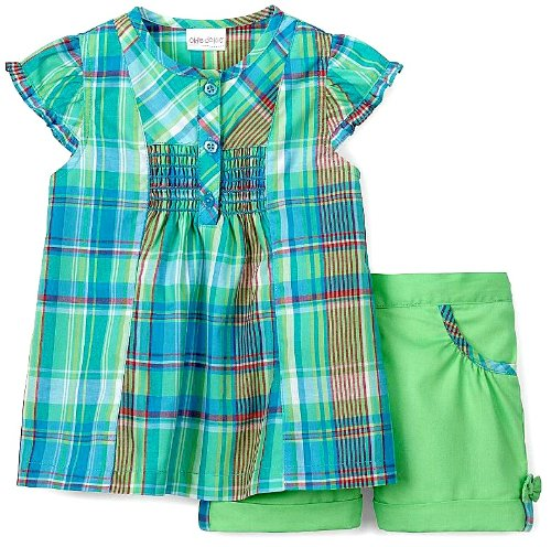 Okie Dokie Baby Girl Plaid Short Set (24M)
