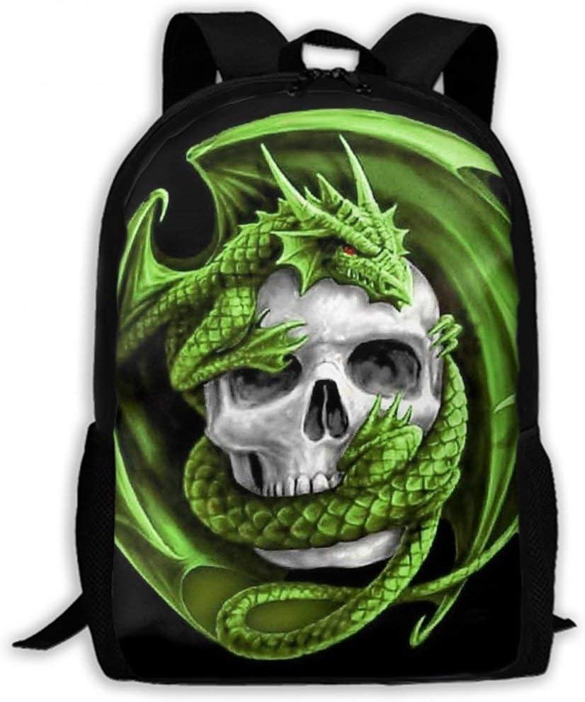 Cool Green Dragon Winding Skull Black Women Men Boys Girls School Daypack Backpacks Casual Lightweight Durable Laptop Backpack for School Business Hiking Camping Travel