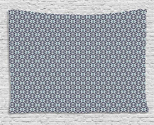YouXianHome Ethnic Tapestry Wall, Oriental Geometric Pattern with Floral Motif, Wall Tapestry Wall Decor for Room Decoration, 60 W x 40 L Inches, Dark Violet Blue Blue Grey Dark Mauve and White]()
