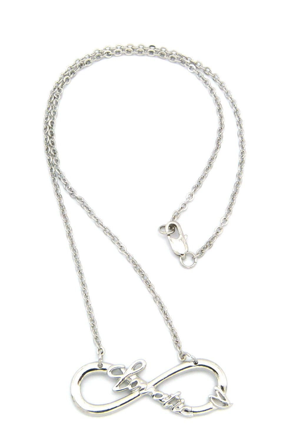 Lovatic (TM) Celebrity Fans 18' Infinity Heart Necklace - Silver Tone XC468R