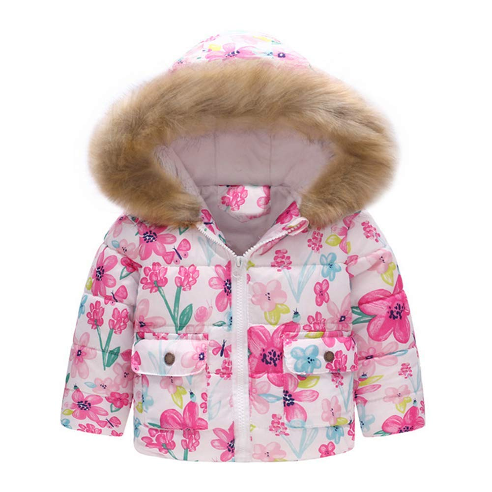 Digirlsor Toddler Girls Snowsuit Kids Winter Coat Fur Hooded Warm Fleece Lined Thick Jacket, 2-7 Years DC157