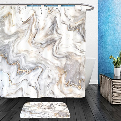 Vanfan Bathroom 2Suits 1 Shower Curtains & 1 Floor Mats marble ink texture background pattern can used for wallpaper or skin wall tile luxurious 521543236 From Bath room - Echelon Echelon Shower Locker