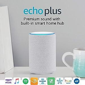 Echo Plus (2nd Gen) - Premium sound with built-in smart home hub - Sandstone