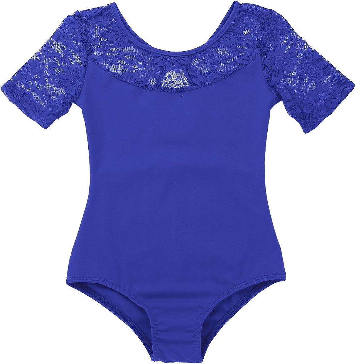 YiZYiF Enfant Fille Justaucorps Danse Ballet Dentelle L/éotard Gymnastique Body Sport Yoga Col Haut Combinaison Bodysuit Patinage Performance Dancewear 5-14 Ans