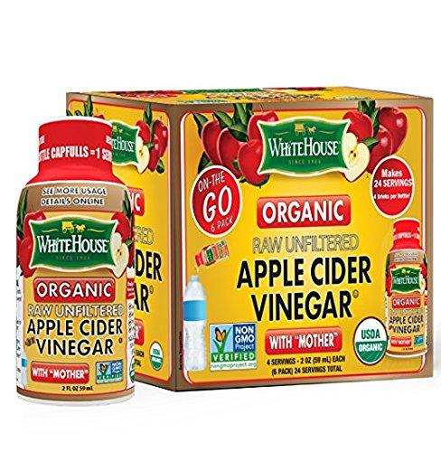 (6 bottles/2oz each) White House Organic Apple Cider Vinegar ON-THE-GO (Pack of 3) by White House
