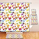Nalahome Bath Suit: Showercurtain Bathrug Bathtowel Handtowel Colorful Traditional French Macarons with Berries Lemons Almonds Pistachios and Chocolate Multicolor
