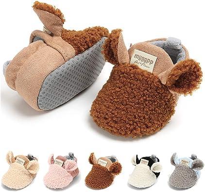 TIMATEGO Newborn Baby Cotton Booties Non Skid Bottom Infant Boys Girls Winter Warm Slipper Socks Stay On Crib Shoes,