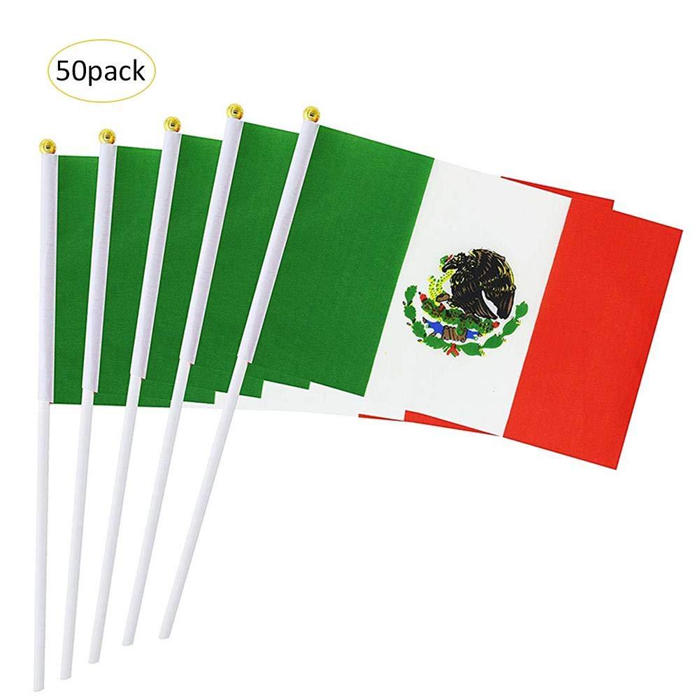 Seasaleshop Drapeau Mexique 50pcs Petite Hand Held Drapeau