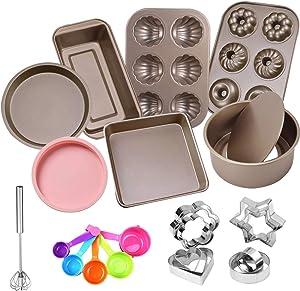 Benooa Nonstick Oven Bakeware Baking Set Carbon Steel Bakeware Set 13 PACK Includes Bread Pan,Baking Sheet,Cookie Sheet, Springform Shaped Round Cake Pan,Cake Muffin Mold Cup