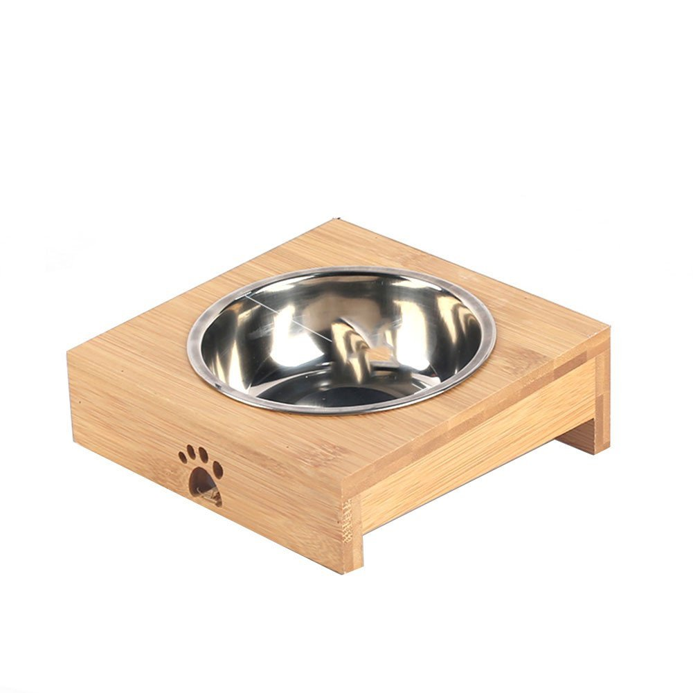 Forever-You Ceramic Cat Bowl Bamboo Stand Dog Bowl Drinking Water pet cat Stainless Steel Bamboo and Wooden Bowl