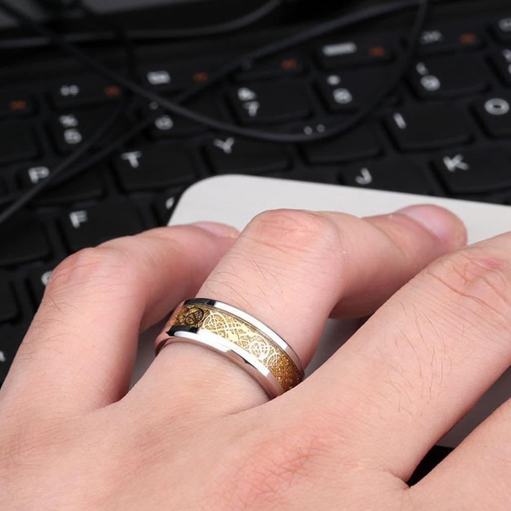 Amesii Stylish Men Titanium Steel Smooth Surface Wedding Band Finger ...