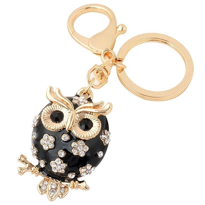 Owl Keychain Fashion Womens Cute Animal Key Chain Keying Holder Pendant  Jewelry(Black) 60aa6a23e
